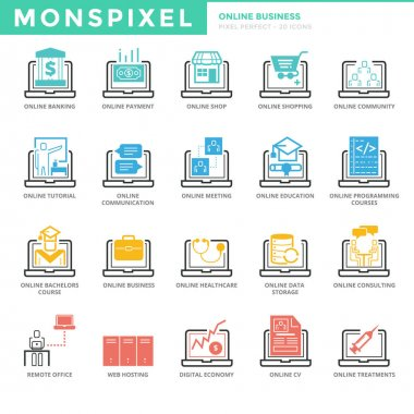 Flat thin line Icons set of Online Business