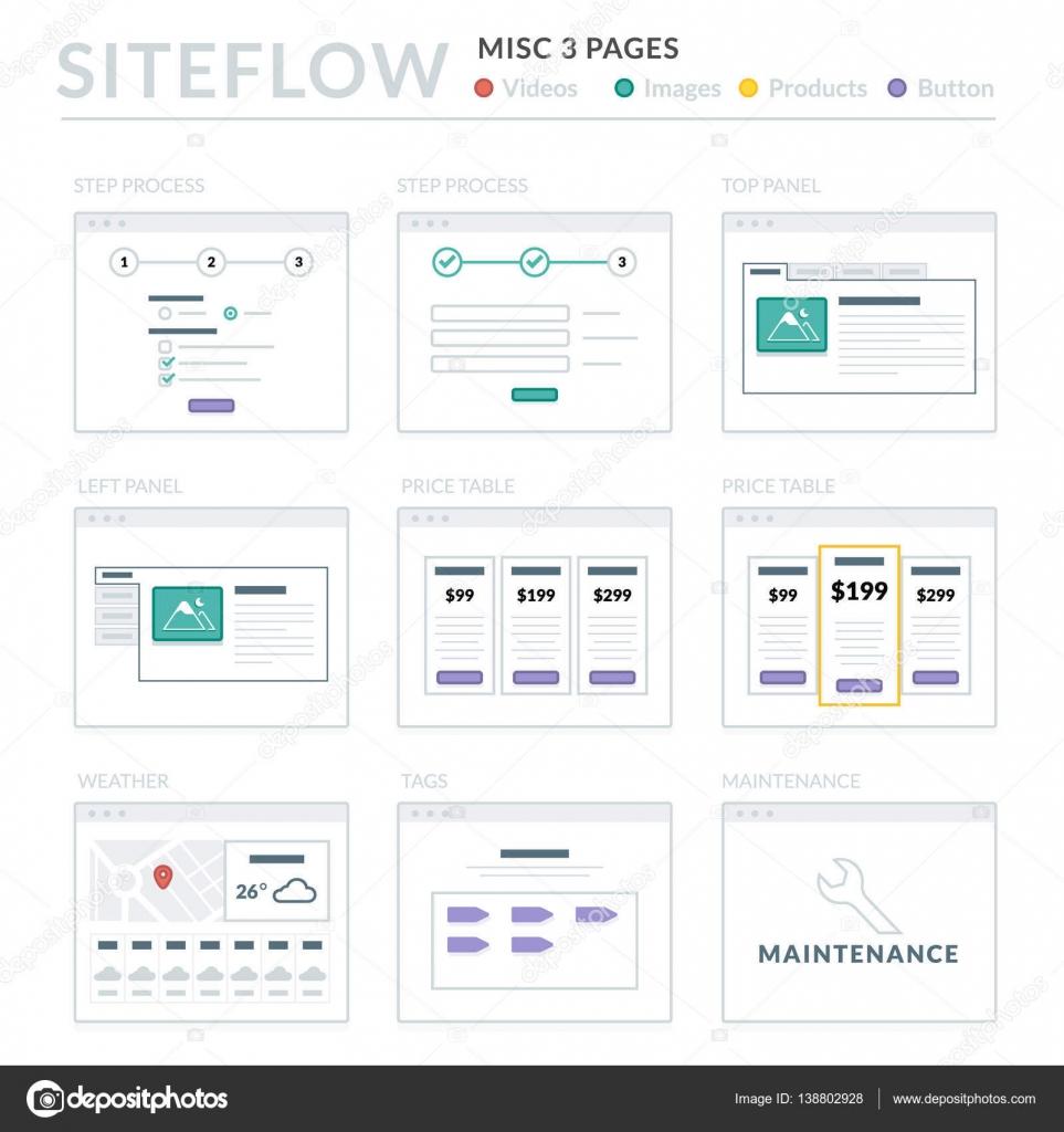 Website wireframe layouts ui kits para mapa do site e ux design website wireframe layouts ui kits para mapa do site e ux design vetores de stock ccuart Gallery