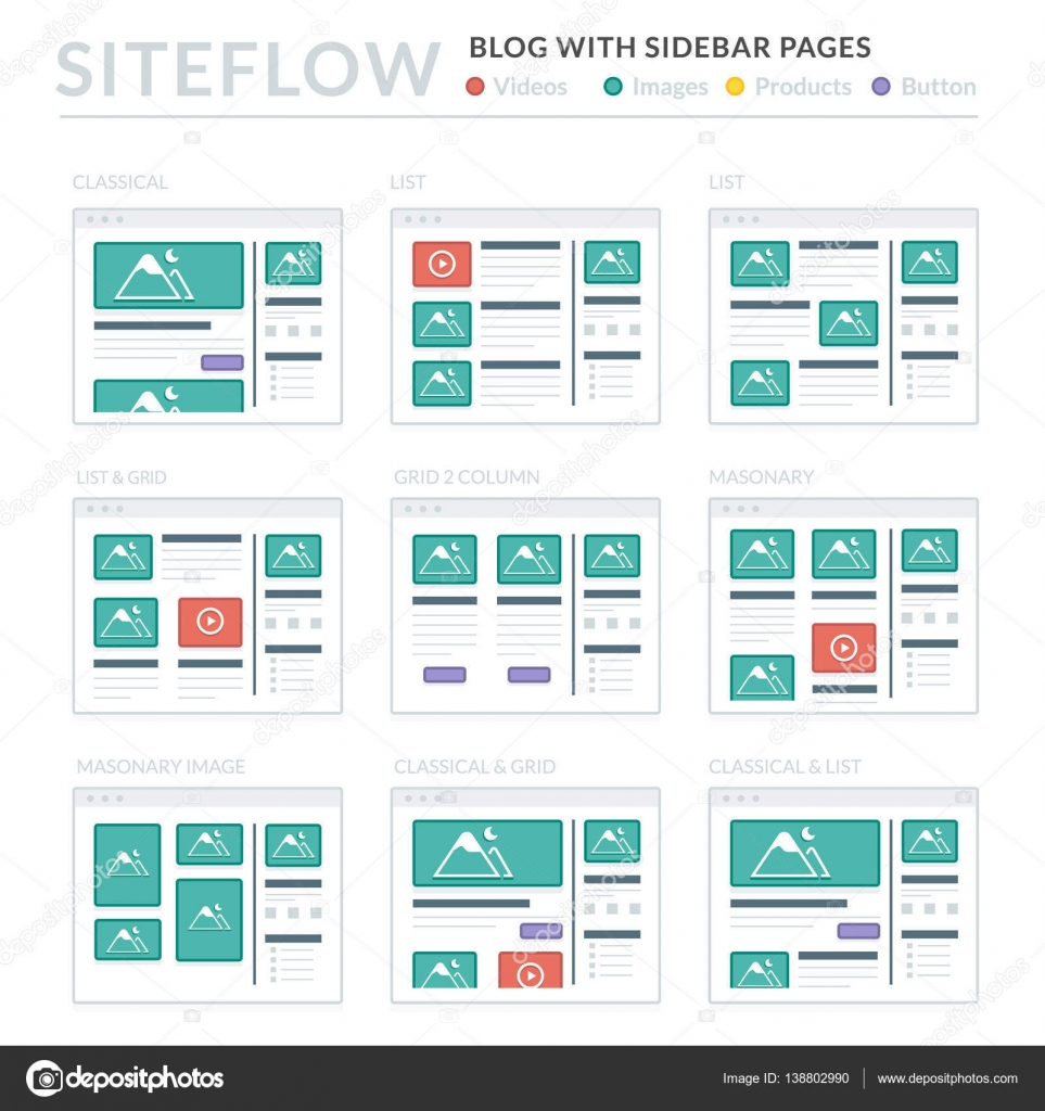 website wireframe layouts ui kits for site map and ux design stock vector