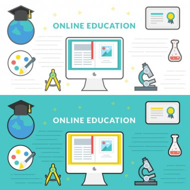 Flat Line Vector Banner about Online Education for Web Development