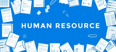 Flat Line Vector Banner about Human Resource for Web Development