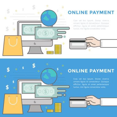 Flat Line Vector Banner about Online Payment for Web Development