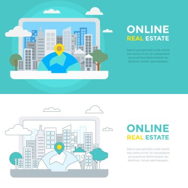 Flat Line Vector Banner about Online Real Estate for Web Development