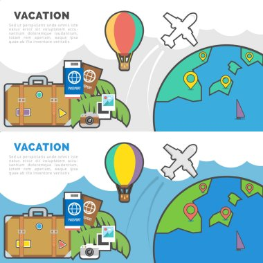 Flat Line Vector Banner about Vacation for Web Development