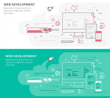 Flat Line Vector Banner about Web Development