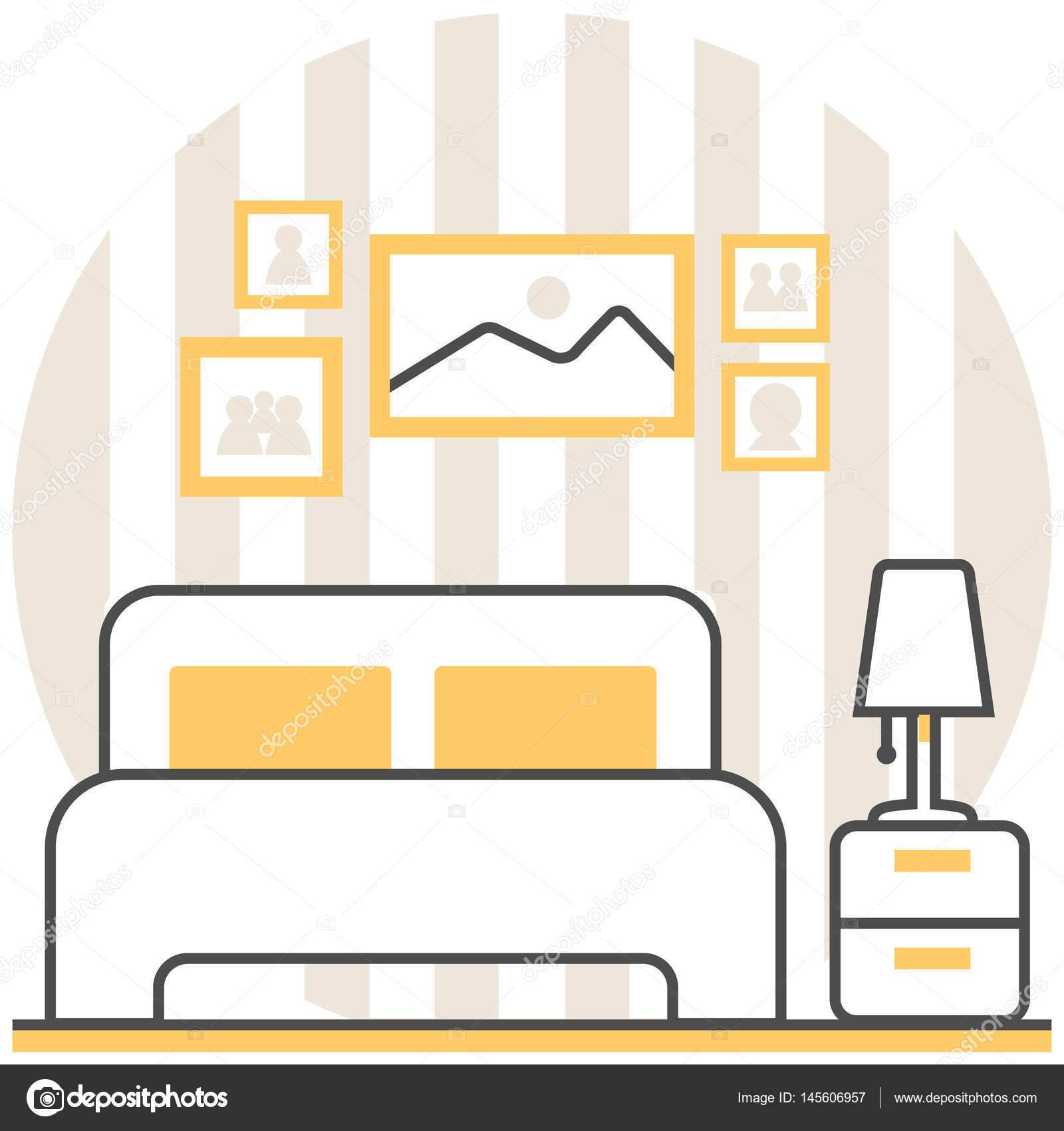 Schlafzimmer - Set Infografik Symbol Elemente von Innenarchitektur ...