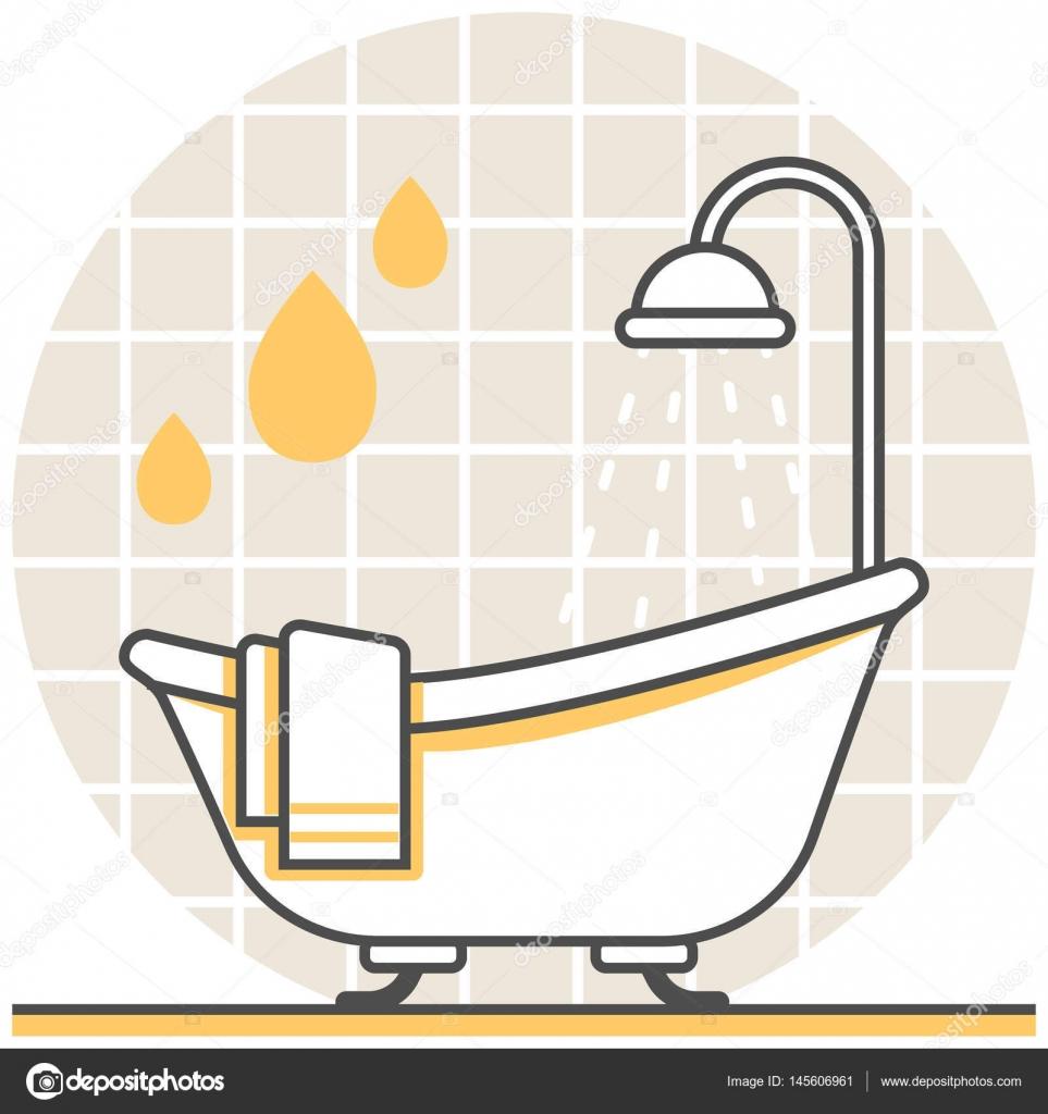 Badezimmer - Set Infografik Symbol Elemente von Innenarchitektur ...