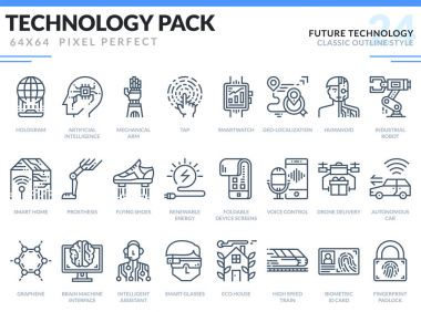 Future Technology Icons Set. Technology outline