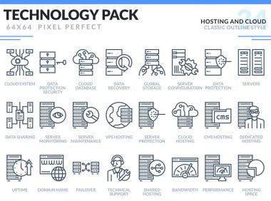 Hosting and Cloud Icons Set. Technology outline