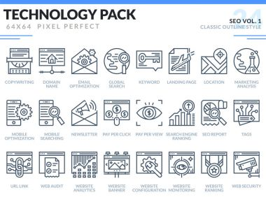 SEO Icons Set. Technology outline icons pack.