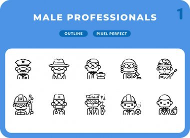 Male Professionals Outline Icons Pack for UI. Pixel perfect thin line vector icon set for web design and website application icon