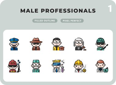Male Professionals Filled Icons Pack for UI. Pixel perfect thin line vector icon set for web design and website application icon
