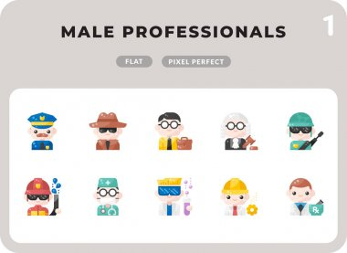 Male Professionals Glyph Icons Pack for UI. Pixel perfect thin line vector icon set for web design and website application icon