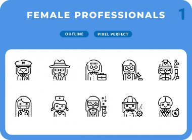 Female Professional Careers Outline Icons Pack for UI. Pixel perfect thin line vector icon set for web design and website application icon