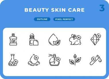 Beauty Skin Care Outline Icons Pack for UI. Pixel perfect thin line vector icon set for web design and website application icon