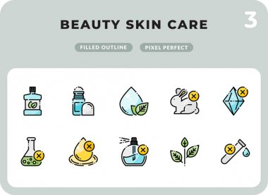 Beauty Skin Care Filled Icons Pack for UI. Pixel perfect thin line vector icon set for web design and website application icon
