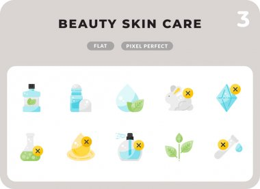 Beauty Skin Care Flat  Icons Pack for UI. Pixel perfect thin line vector icon set for web design and website application icon