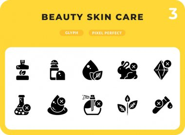 Beauty Skin Care Glyph Icons Pack for UI. Pixel perfect thin line vector icon set for web design and website application icon