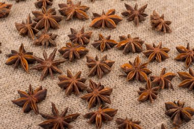 Star anise on sackcloth fabric