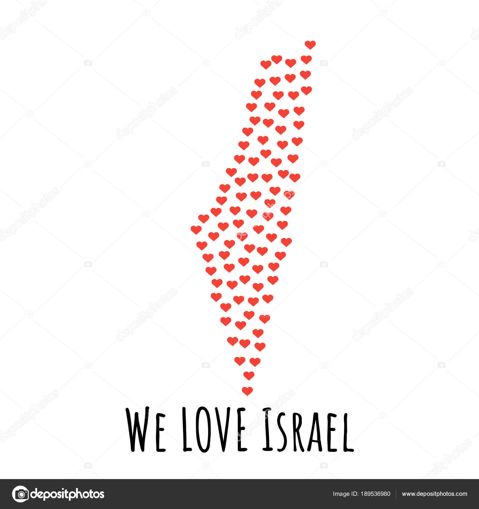Israel Map With Red Hearts Symbol Of Love Abstract Background