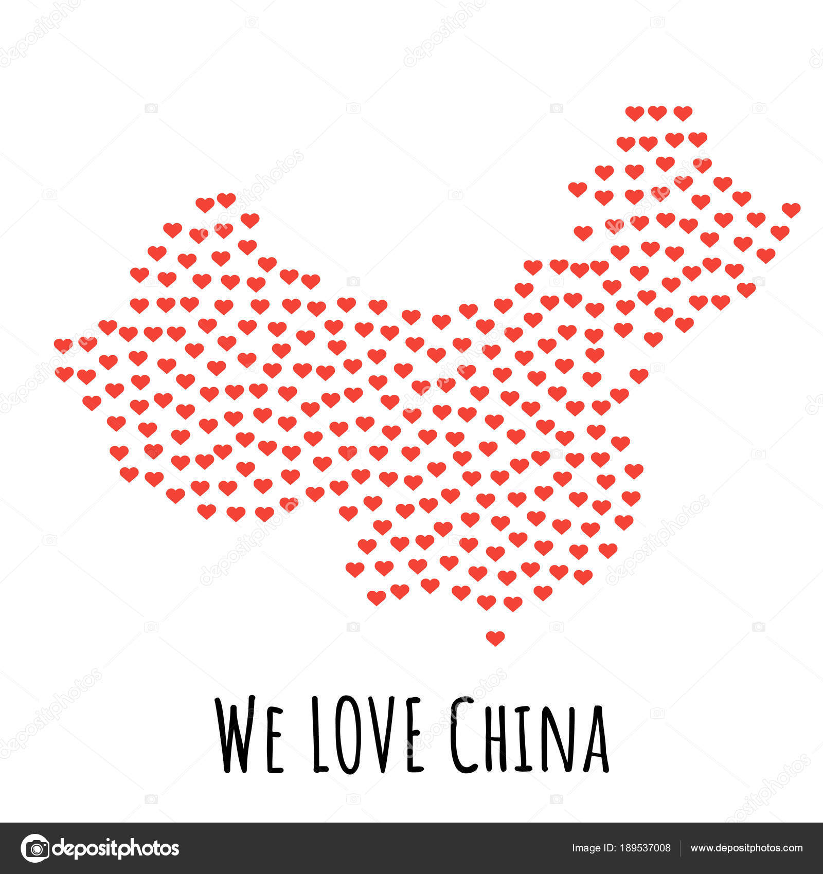 China Map With Red Hearts Symbol Of Love Abstract Background