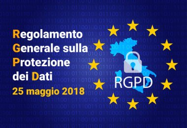 RGDP - italian text: Regolamento generale sulla protezione dei dati. Italy map. GDPR - General Data Protection Regulation. Vector