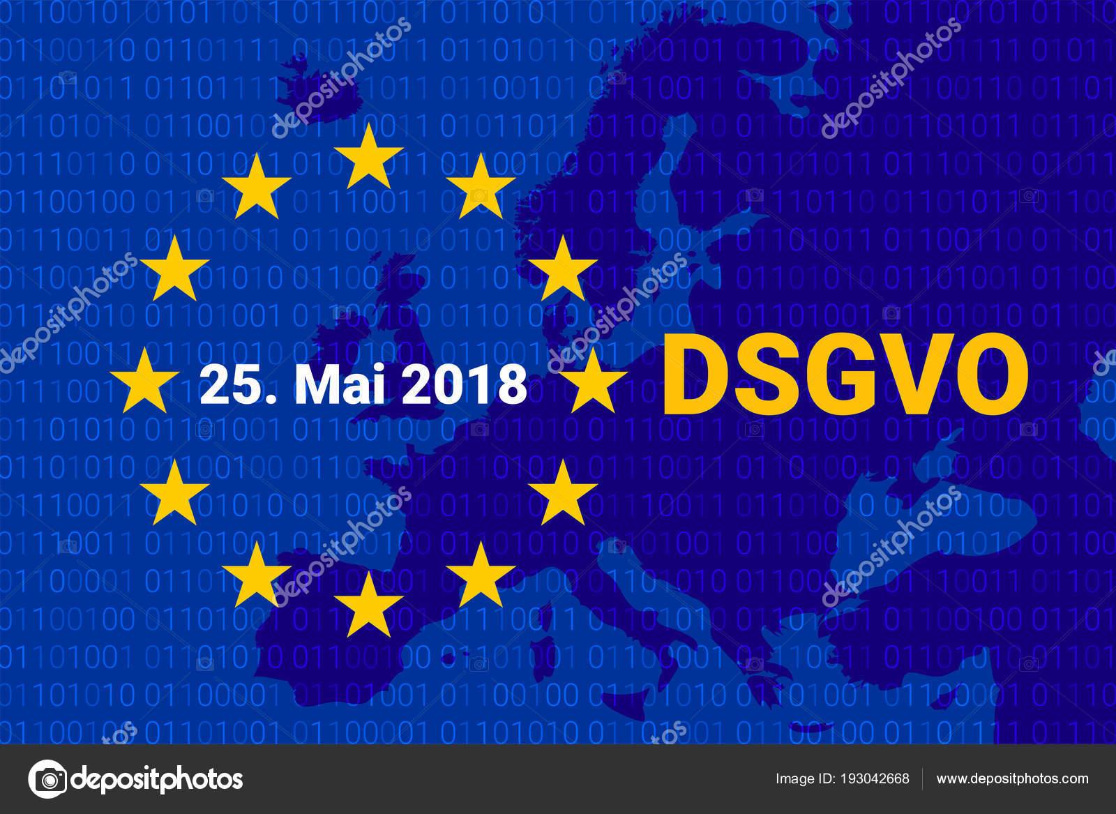 62448ea81 Dsgvo - Datenschutz-Grundverordnung alemão. PIBR - regulamento geral de  proteção de dados. ilustração em vetor. mapa da Europa — Vetor de  Vector.Plus