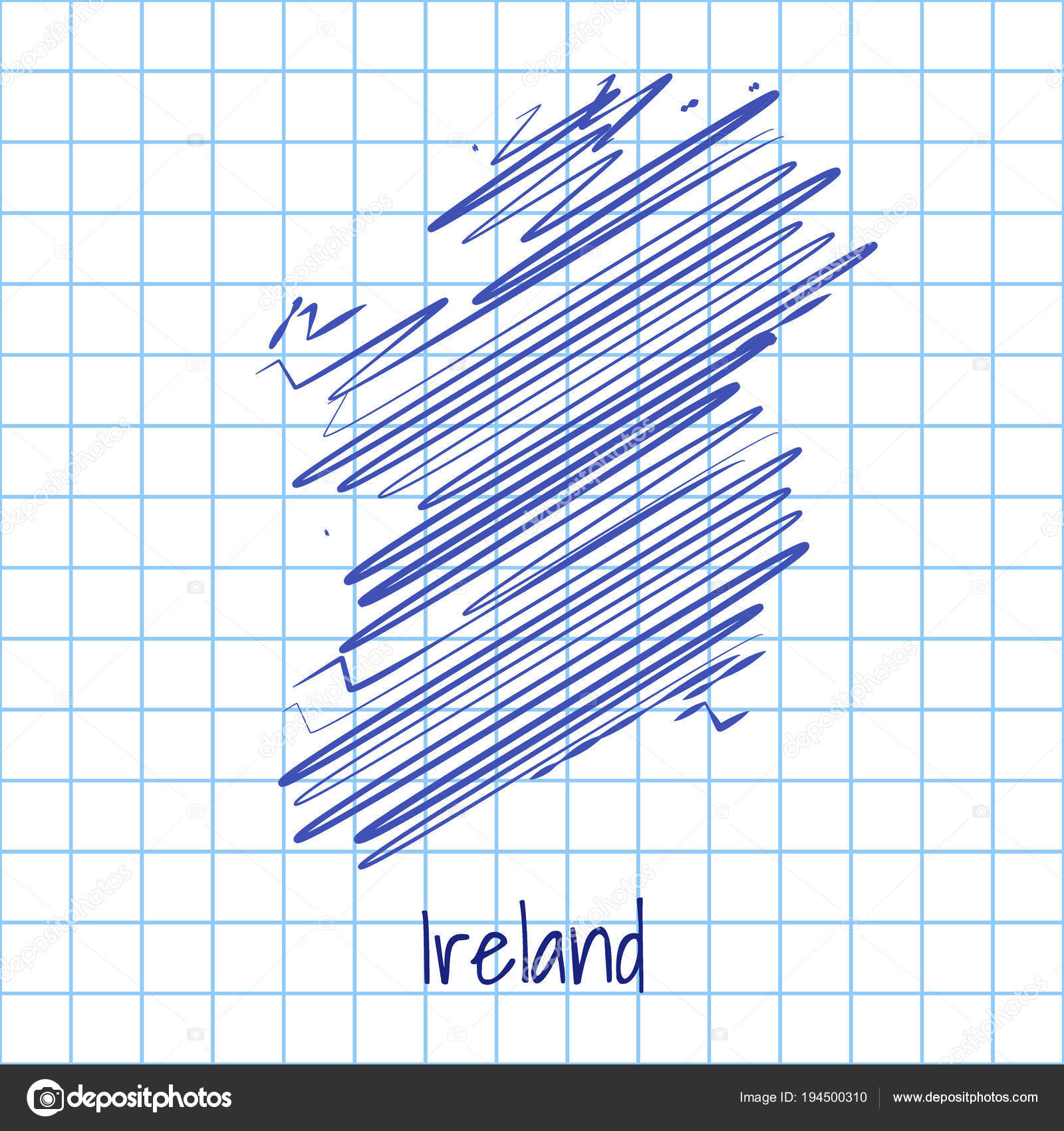 Sketch Map Of Ireland.Map Of Ireland Blue Sketch Abstract Background Stock Vector