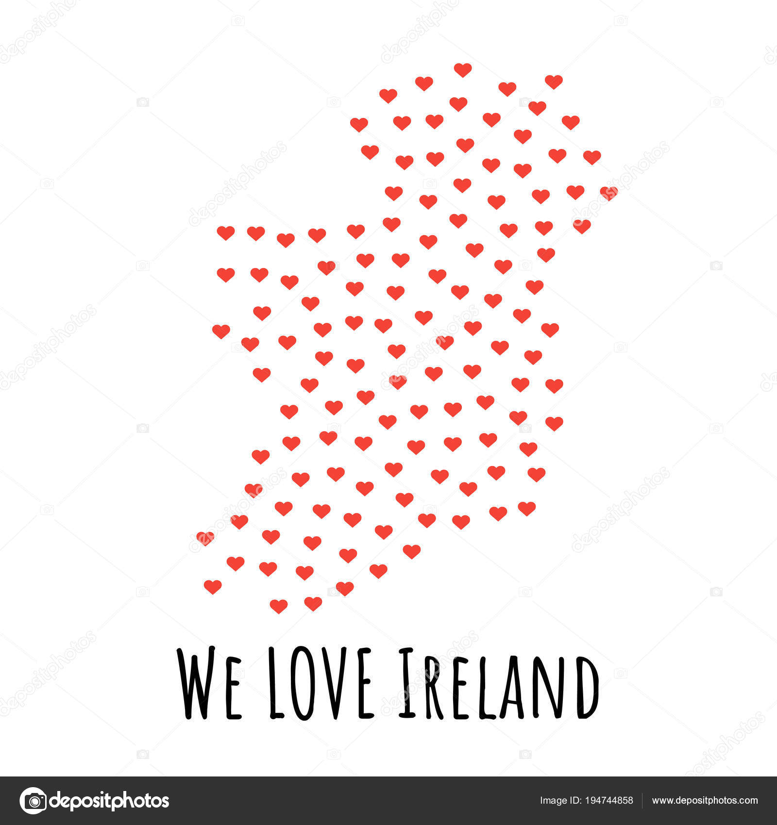 Ireland Map With Red Hearts Symbol Of Love Abstract Background