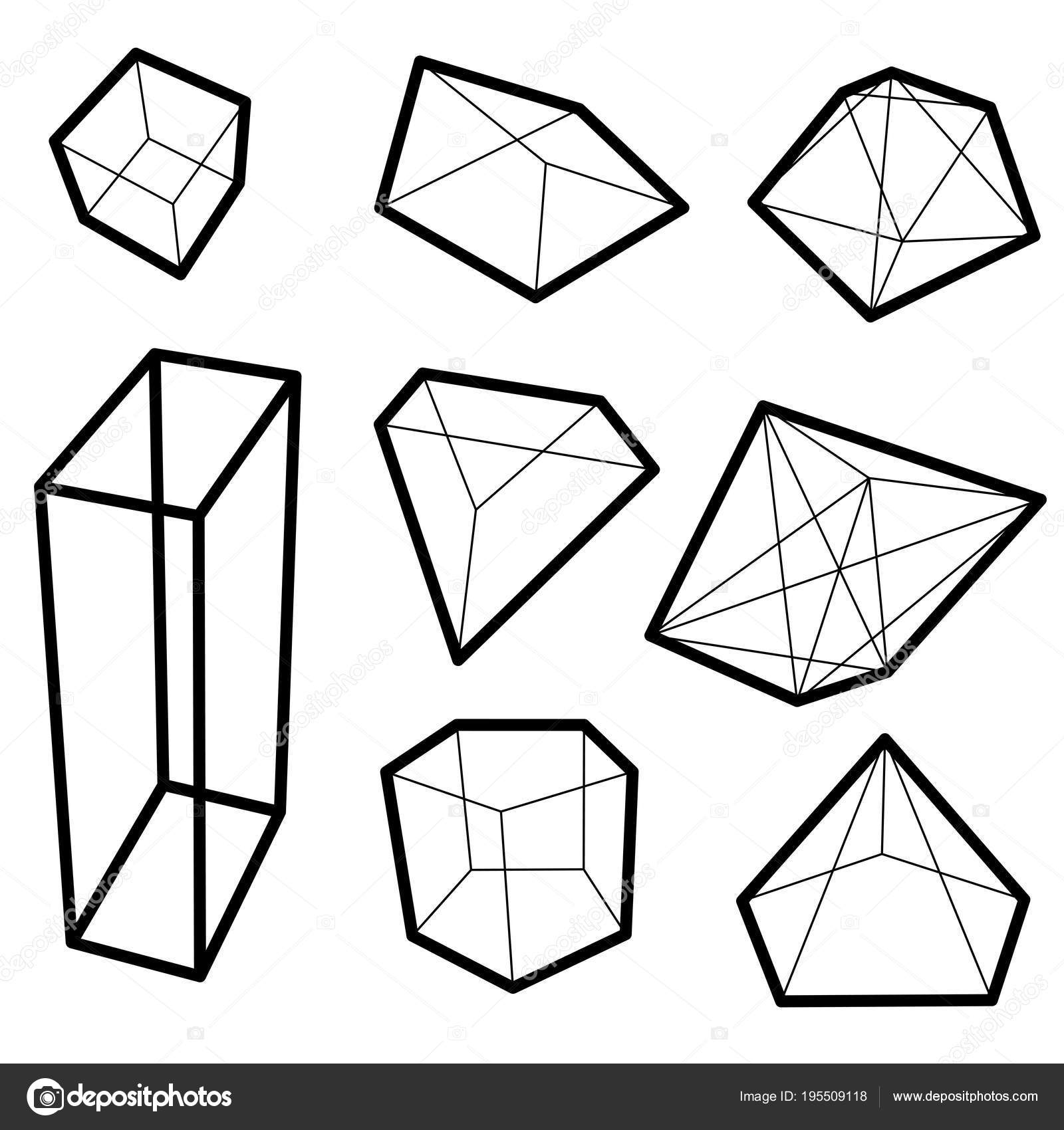 frame geometric shapes. set of pyramids, cubes minerals — Stock ...