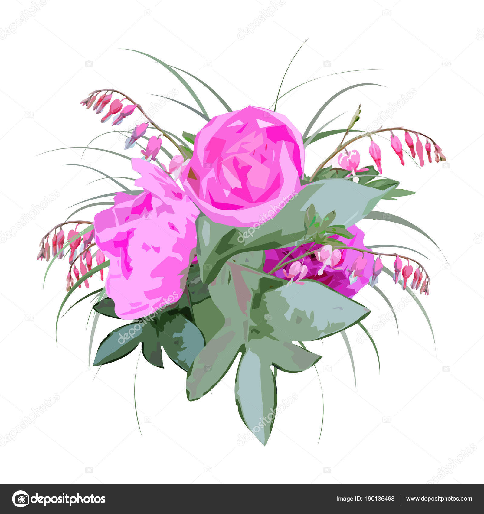 Floral bouquet peony flowers bleeding heart flowers hand drawn floral bouquet peony flowers bleeding heart flowers hand drawn watercolor stock vector izmirmasajfo