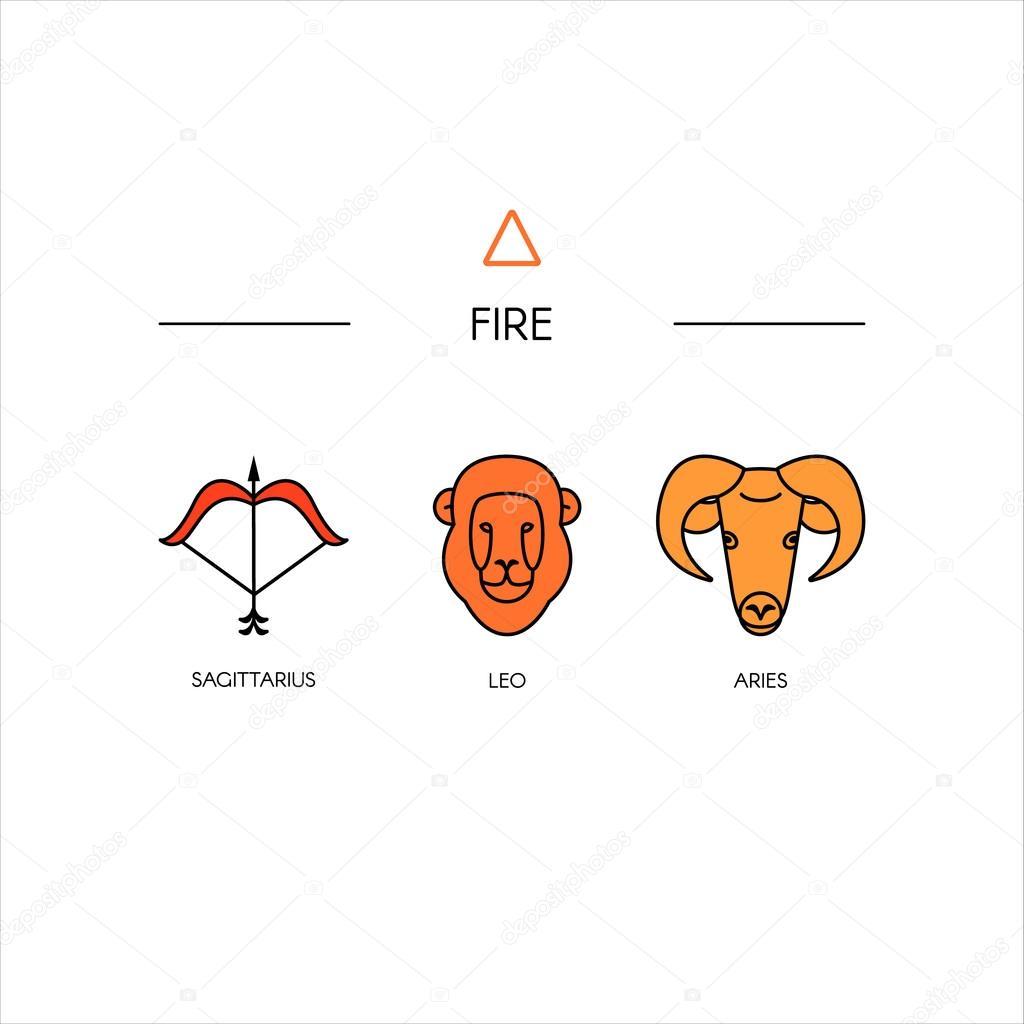 Zodiac fire symbols — Stock Vector © OlhaYerofieieva #126900132