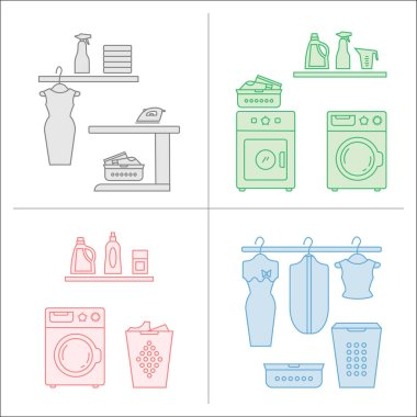 laundry room icons set