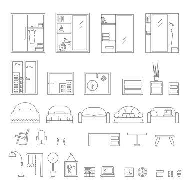 Interior design elements in line style