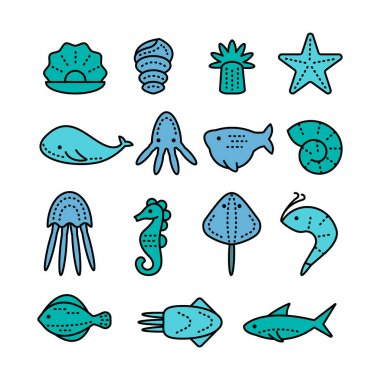 Icons with sea creatures and symbols