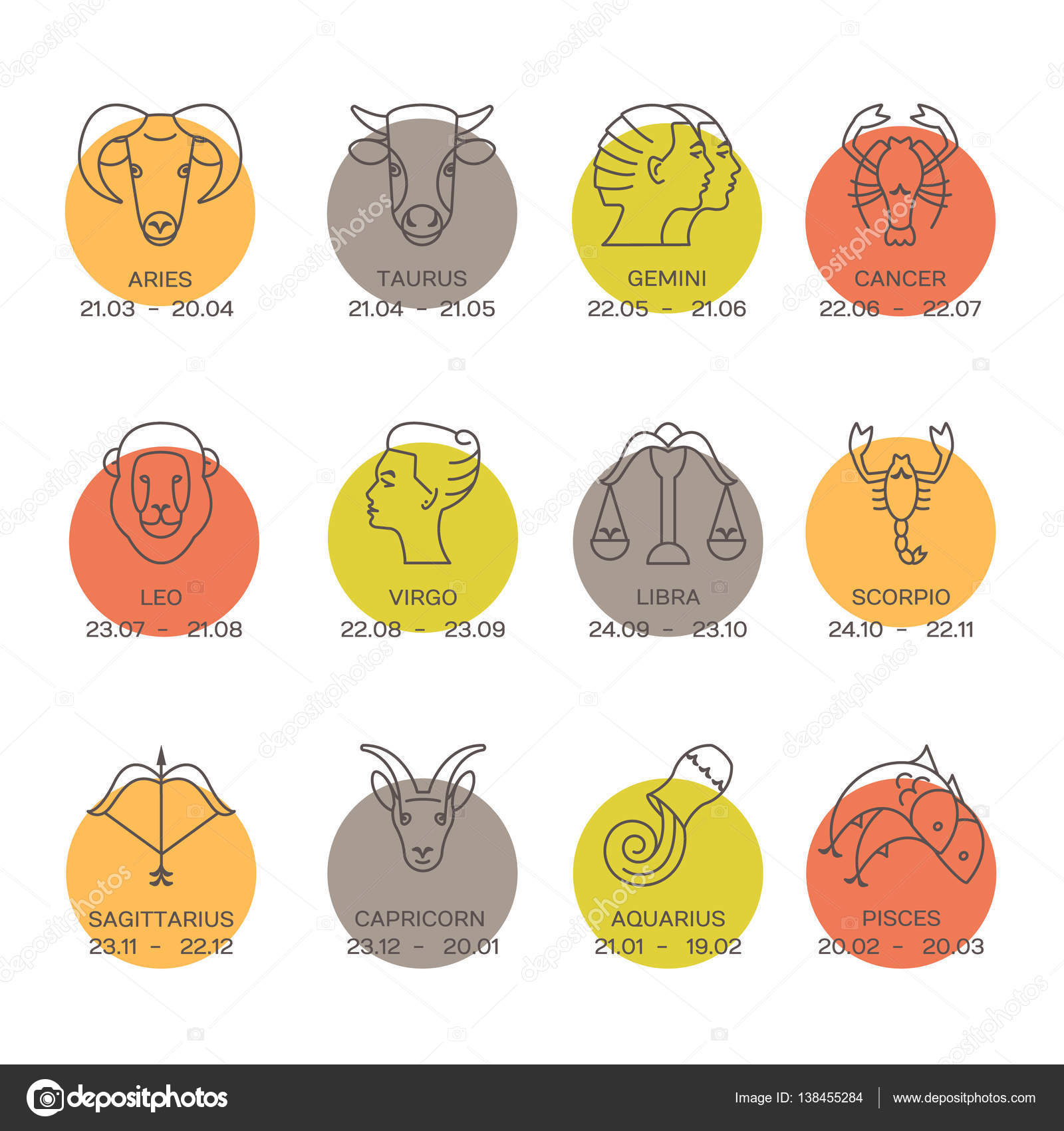Zodiacal Symbols And Horoscope Signs Stock Vector