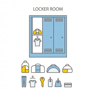 Locker icons set