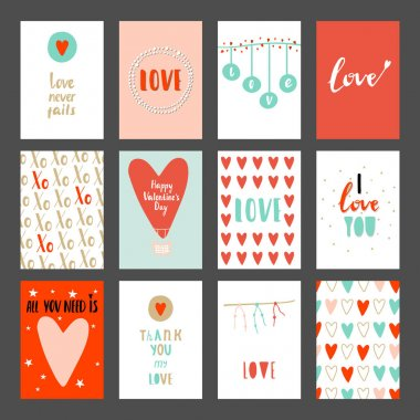 Valentines day set cards.