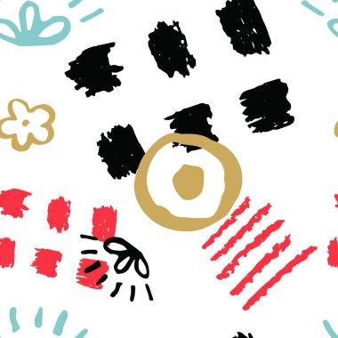 Hand drawn scribbles seamless pattern clip art vector