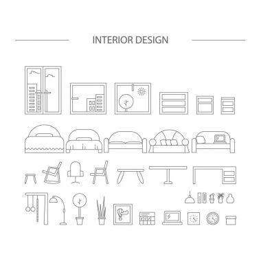 Set of line interior design icons.