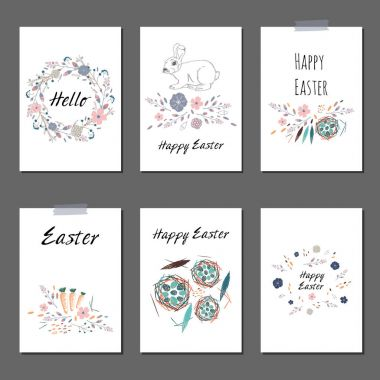 Set of cards templates with cute flowers, eggs, bird and rabbit. For romantic and easter design. vector illustration stock vector