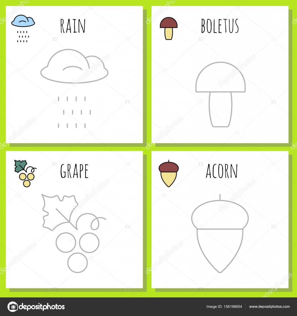 Símbolos de páginas para colorear de otoño — Vector de stock ...