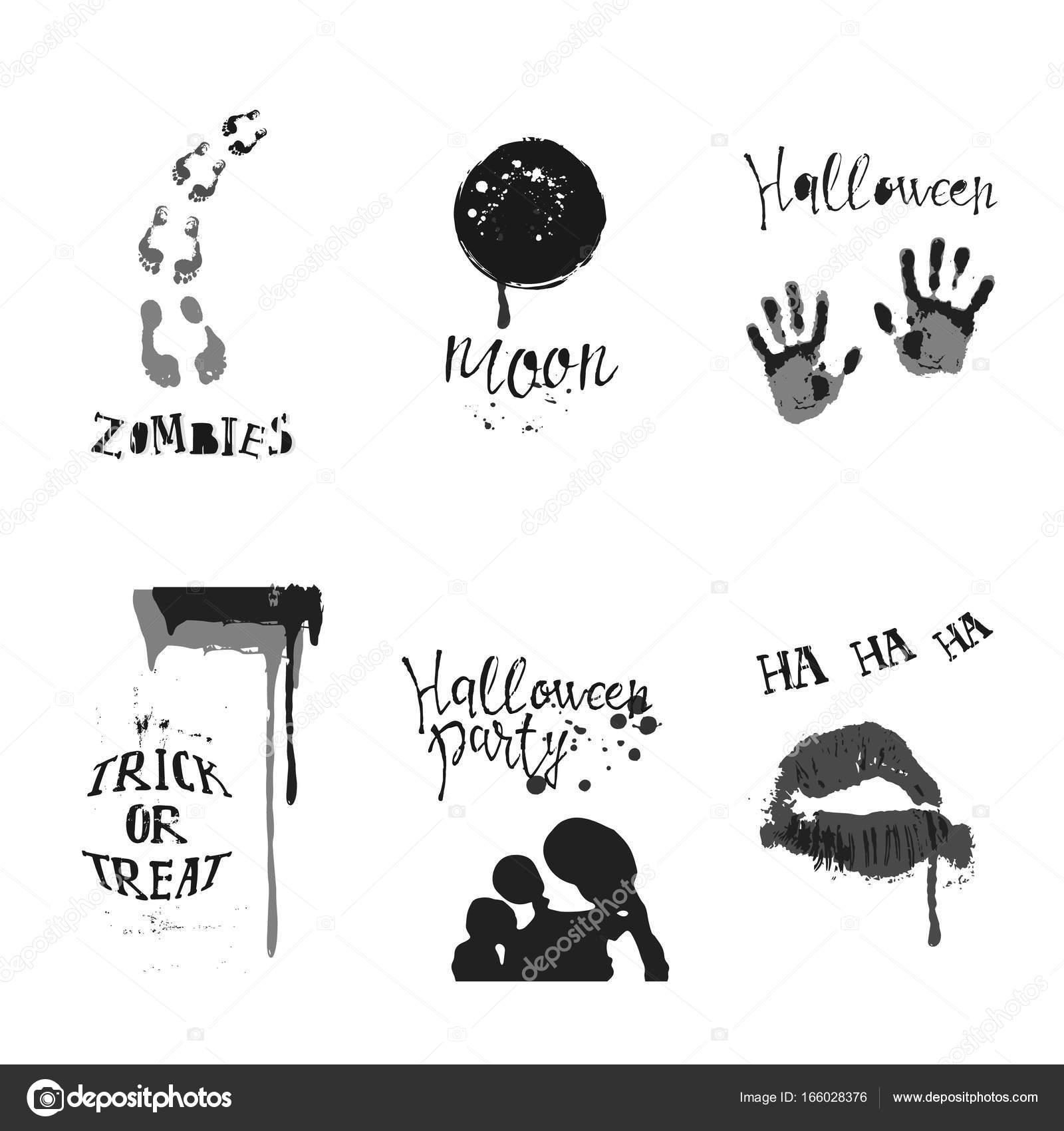 Set Of Designs With Halloween Symbols Stock Vector