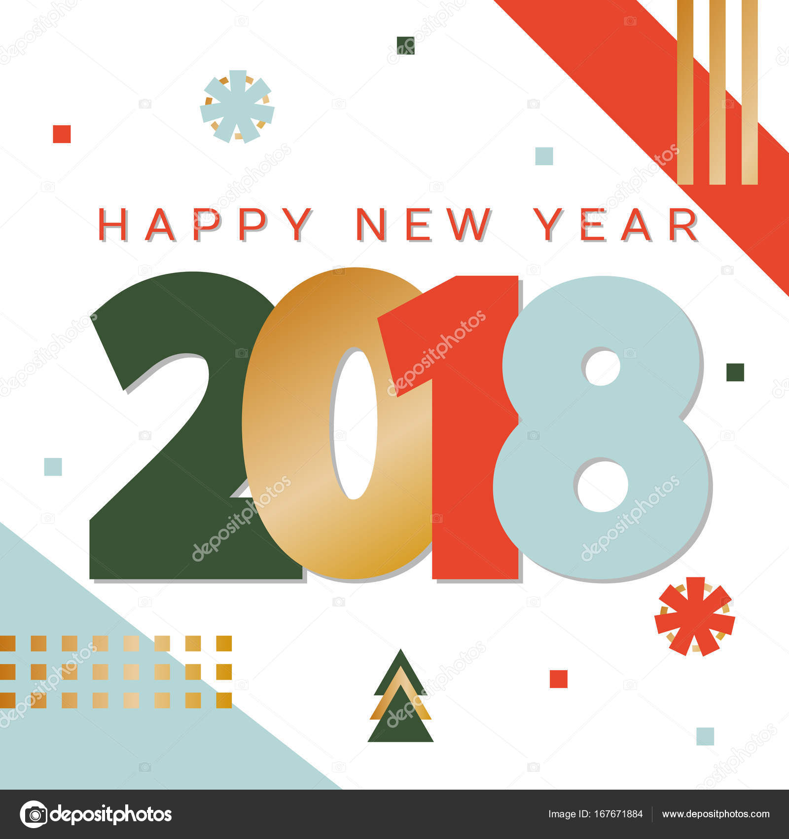 happy new year 2018 colorful typeface greeting card poster brochure or flyer template vector by olhayerofieieva