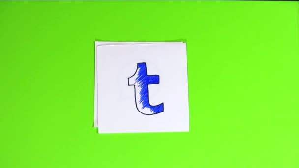 Logos of social networks on small pieces of paper. logos social networks drawn by hand using a felt-tip pen. Stop motion