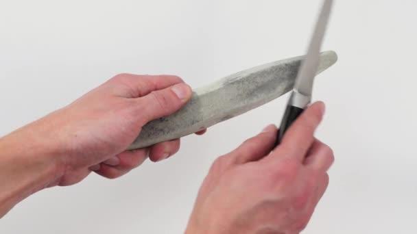 Messer Und Schleifstein In Den Handen Eines Mannes Hand Ein Messer