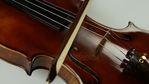 Close up soundboard of violin and bow  The bow moves along the violin string