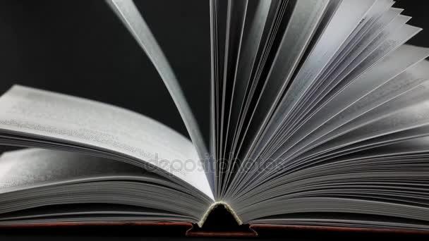Otevřela knihu na černém pozadí. Stránky mírně kymácí.