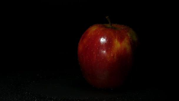 Čerstvé červené jablko na černém pozadí. Malá kapka vody stéká po apple.