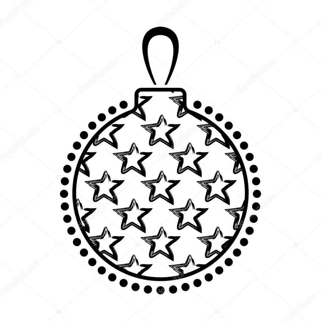 Icône De Noël Boule Noir Et Blanc Image Vectorielle
